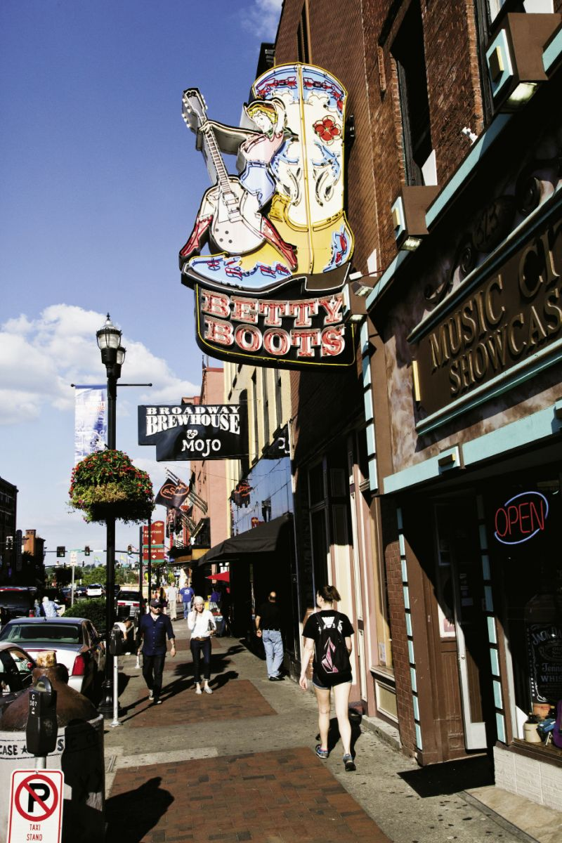 On Broadway, home to live music, stores for cowboy boots and guitar picks, and record shops.