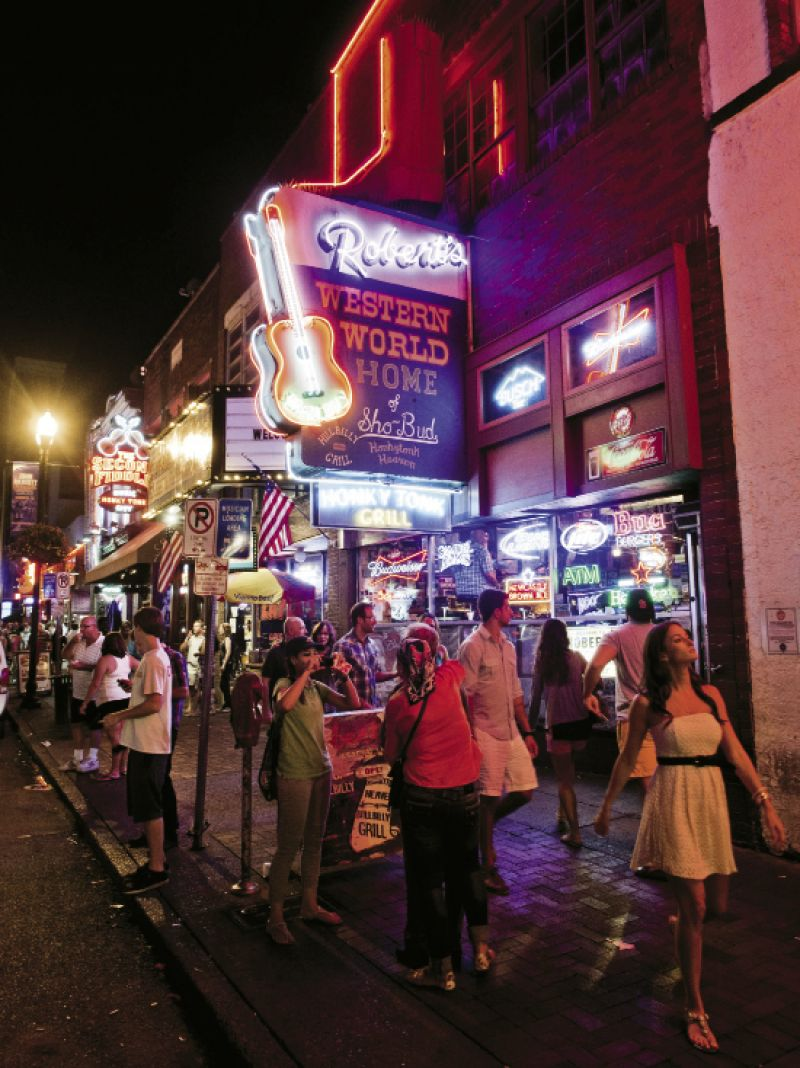 The scene at Robert's Western World, a classic among Broadway's famous honky-tonk bars, where musicians play and patrons dance from late morning to late night.