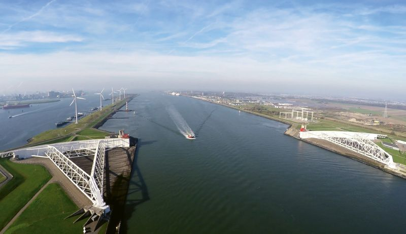 The massive 72-foot-high, 689-foot-long steel gates of the Maeslantkering protect Rotterdam, and the entrance to one of the world's busiest ports, from storm surge.