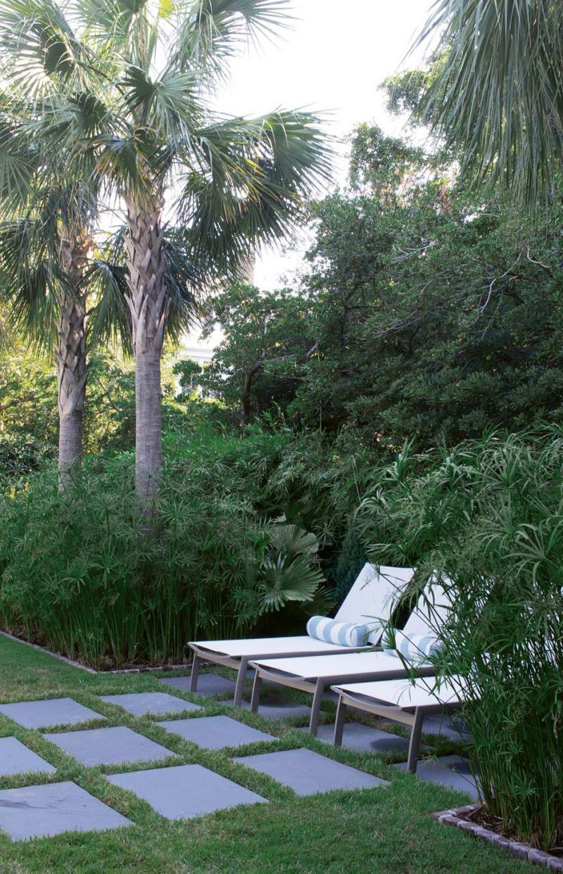 Secret Retreat: Lawn chairs tuck into a nook enveloped by papyrus and Chinese fan palms.