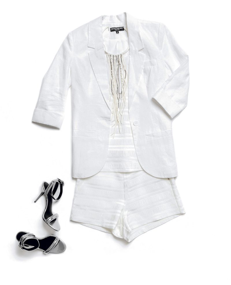 """Linen jacket by Central Park West, $188 at Finicky Filly; """"Marielle"""" woven top and shorts in off-white by Endless Rose, $56 each at Julep; """"Alaia"""" deerskin-wrapped metal choker with cut crystal strands by Millianna, $173 at Gwynn's of Mount Pleasant; and """"Antonia"""" silver leather sandals by Alexander Wang, $475 at Hampden Clothing"""