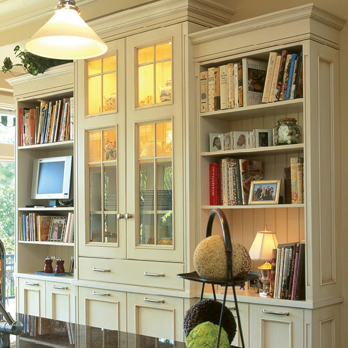Custom cabinets (shown here in white with chocolate glaze), price available upon request, at Regina Garcia Design LLC