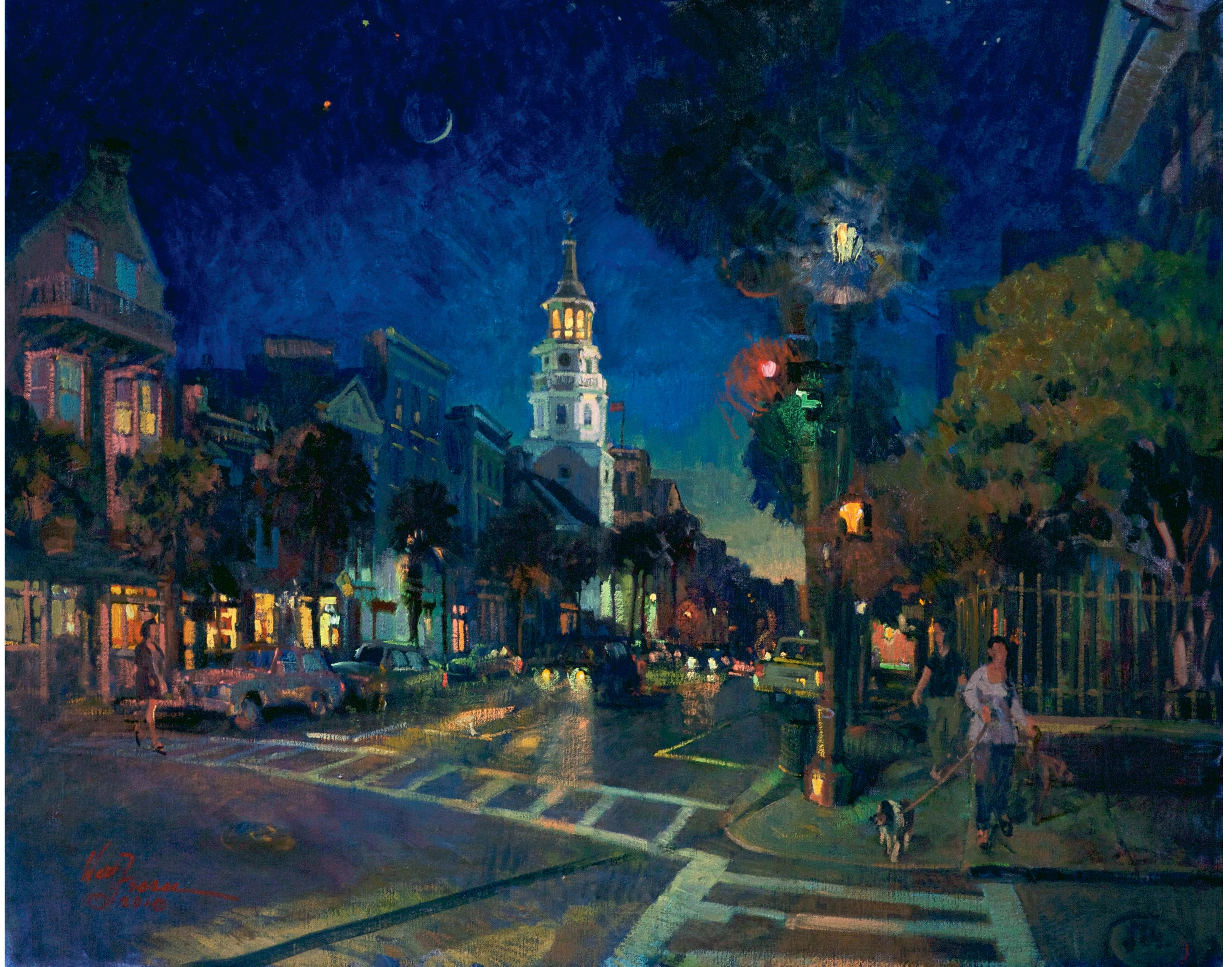 Venus, Saturn, Mars, and  the Crescent Moon (Charleston, South Carolina; oil; 24 × 30 inches; 2010; private collection)