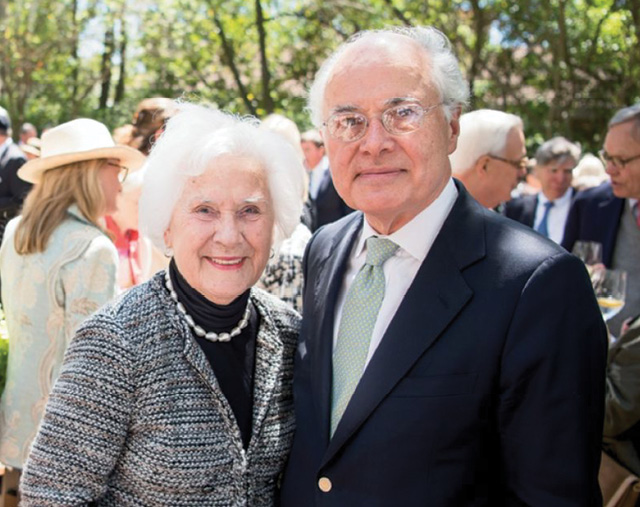 Redden socializing with Pat Prioleau at the Mary Ramsay Civic Award Luncheon for honorees Peter and Patti McGee in 2017